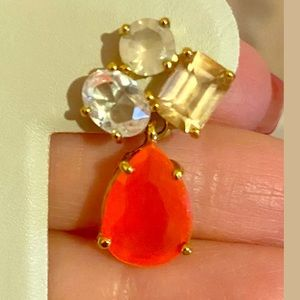 Kate Spade stone cluster drop coral earrings orang